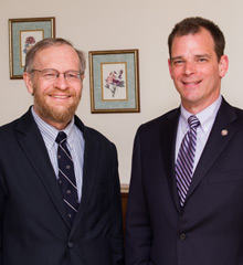 Richard Alley (left) with interim Albion College President Mike Frandsen.