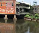 The Kalamazoo River running through downtown Albion.