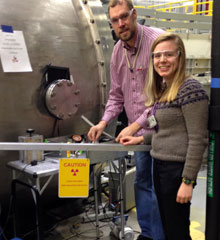 Stephanie Sanders, '15, with her research supervisor at Oak Ridge National Laboratory