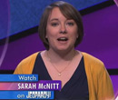 Sarah McNitt, '02, on Jeopardy! (courtesy Jeopardy Productions)