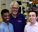 Jordan Newson, '17; Larry Schook, '72, and Nickolas Kinachtchouk, '19