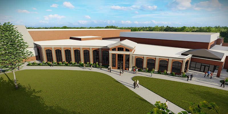 An exterior rendering of Albion College's Dow Center expansion, fueled by a gift from Julie and Joe Serra, '82.