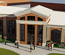 A rendering of the front entrance following an expansion of the current Dow Recreation and Wellness Center at Albion College.