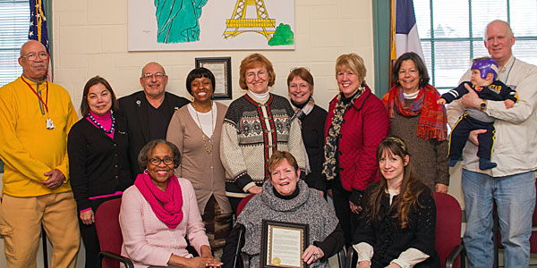 Albion's Sister City Committee honoring founder Sue Marcos (center front), March 2014