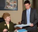Michigan U.S. Senator Debbie Stabenow and Chief of Staff Bill Sweeney, '98