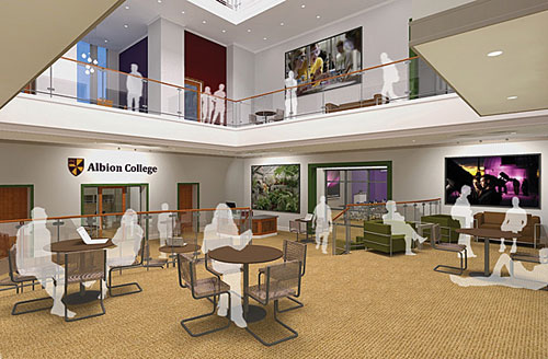 A rendering of the Stockwell Library atrium, part of Phase II of Albion College's library renovations.