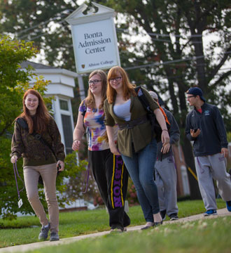 Albion College students outside Bonta Admission Center.