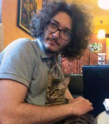 Szocinski at Budapest's Cat Cafe.