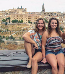 Emily Walker with another exchange student visiting Toledo, Spain