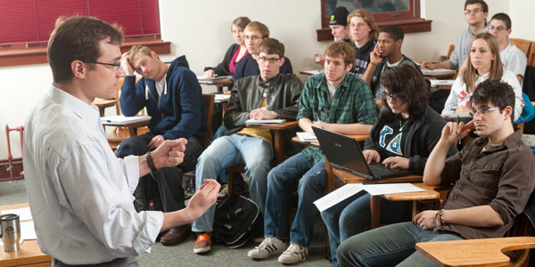 Professor Daniel Mittag with his philosophy class.