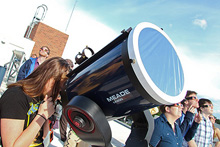 Albion College telescope atop Palenske Hall, available for public use during scheduled Public Observation events.