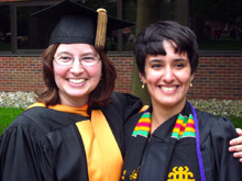 Professor Jacque Carlson and Cari Drolet at 2012 Commencement.