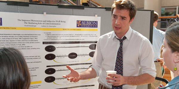 An Albion College psychology student presents at the Elkin R. Isaac Student Research Symposium.