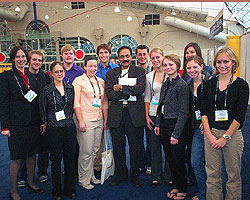 Students meet with noted researcher V.S. Ramachandran at the Society for Neuroscience conference: Amy Salmeto, David Wreschnig, Cindy Cardwell, Cam Harris, Megan Roberts, Paul Beach, Ramachandran, Danny Dobrei, Mieke Verhoeven, Amanda Tilot, Kaycee Rashid (in back), Katelyn Boswell, Carrie Oleszkowicz.