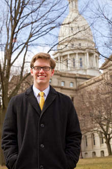 Nathaniel Love, '13, graduated with a degree in public policy following a senior-year internship in Lansing at lobbying firm Kelley Cawthorne.
