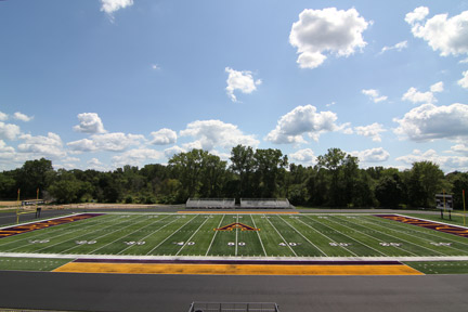 Aug. 18: A goalpost-to-goalpost view of the new field.