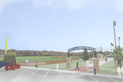 A rendering of Albion College's Alumni Field entrance and outdoor plaza.