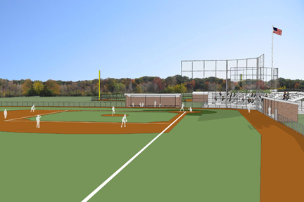 A rendering of the Albion College baseball complex.