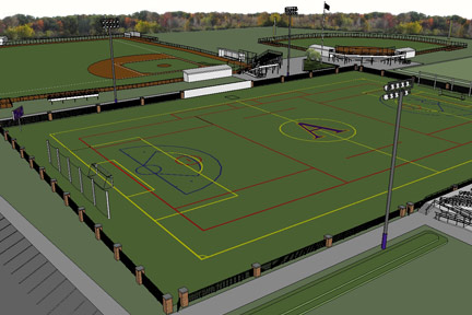 A rendering of Albion College's soccer and lacrosse facility.