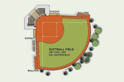 A rendering of the Albion College softball complex.