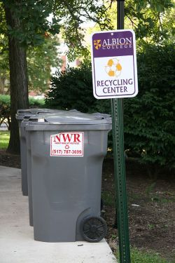 One of Albion College's 25 outdoor recycling locations. The bins are clearly marked for efficient recycling.