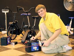 "John Cawood, '08, helped lead the student team that designed the ""Calories to Kilowatts"" project"
