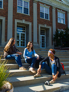 Students on the steps of Kresge Gym.